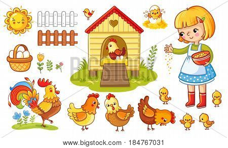 Farm chicken scene. Vector set with chicken and girl. The child feeds the hens and chickens. Children's cartoon style.