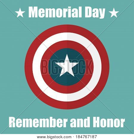 Shield with USA Memorial Day icon. Protect privacy Illustration badge icon