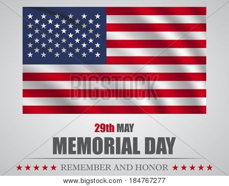 Remember and honor banner for memorial day. American flag on gray background