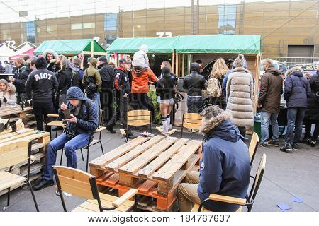 St. Petersburg Russia - 15 April, The queue for food,15 April, 2017. International Motor Show IMIS-2017 in Expoforurum. Visitors to a motor show in an improvised street food station.
