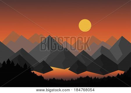 Cartoon vector illustration of mountain landscape with lake or river and forest with foreground trees under dramatic sky with rising sun