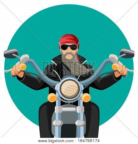 Biker wearing leather clothes with grey long beard riding motorcycle vector flat illustration blue web button isolated on white