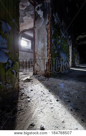 A gloomy corridor in the old destroyed prison, Russia