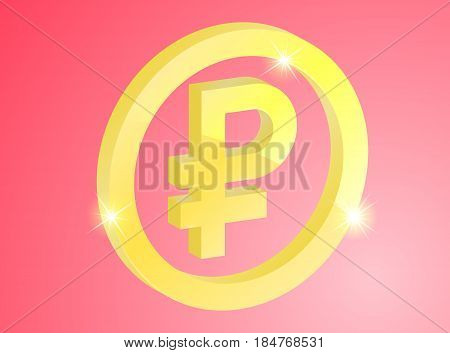 Icon gold ruble in the ring on a red background
