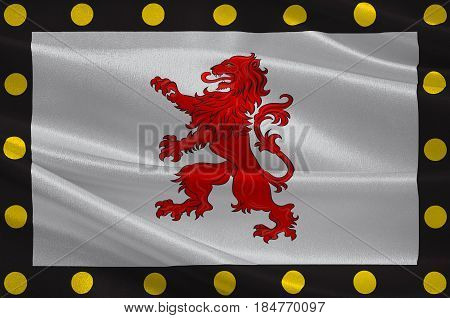 Flag of Chatellerault is a commune in the Vienne department in the Nouvelle-Aquitaine region in France. 3D illustration