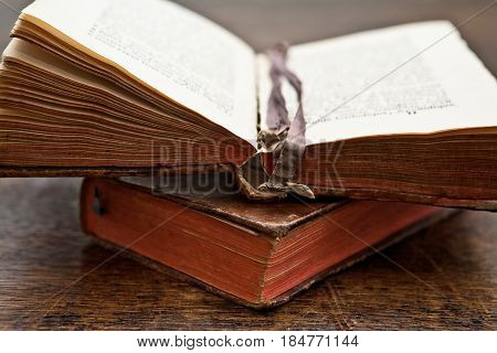 two old books on the table, one open