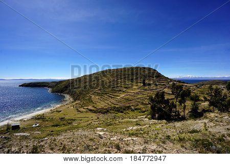 A peninsula of Isla Del Sol, an Island in Lake Titicaca, Bolivia