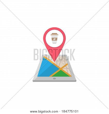 Food map pointer flat icon, mobile gps navigation and location, pin on tablet vector graphics, a colorful solid pattern on a white background, eps 10.