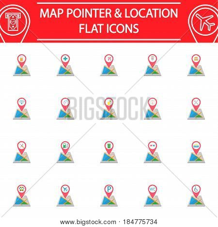Map pointer flat pictograms package, Location symbols collection, mobile gps services vector sketches, logo illustrations, navigation colorful solid icon set isolated on white background, eps 10.