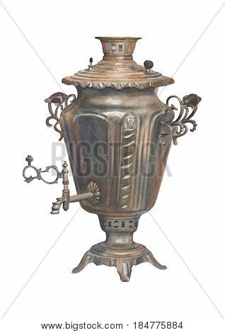 Watercolor russian samovar isolated on white background