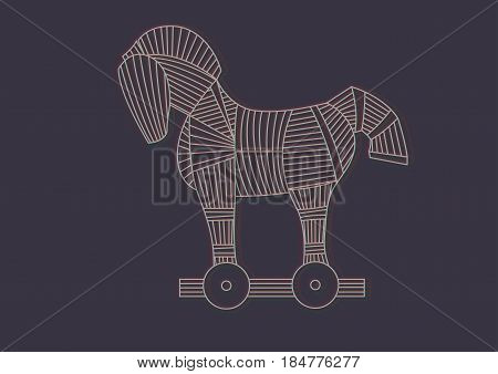 Trojan horse for illustration with RGB glitch effect. Stock Vector