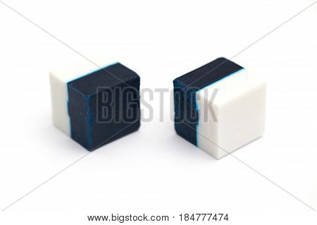 Disinfectants for toilet, white and blue cubes.