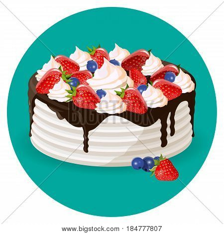 Birthday cake with fresh blueberries, strawberries, creamy flowers and chocolate topping realistic vector illustration in blue circle
