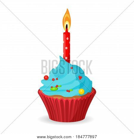 Birthday cupcake with one burning candle, blue cream with pieces of caramel vector illustration isolated on white. Tasty dessert