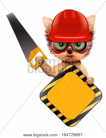 Funny dog with construction tools and sign isolated on white background. Constructor and handyman concept. 3D illustration