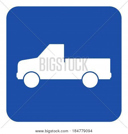 blue rounded square information road sign - white pickup with a flatbed icon