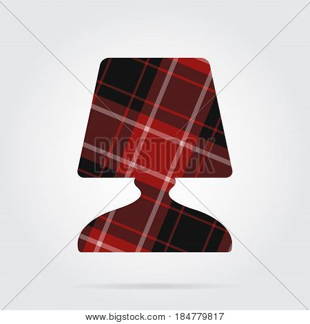 red black isolated tartan icon with white stripes - bedside table lamp and shadow in front of a gray background