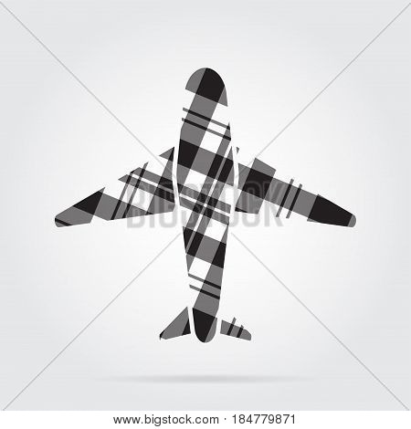 grayscale gray black isolated tartan icon with white stripes - airliner and shadow in front of a gray background