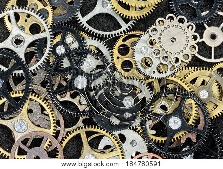 Assortment of gears and other machine parts macro view