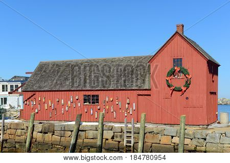 Motif Number 1 is a fishing shack built in 1840 in Rockport, Massachusetts, USA. This building is the the most famous symbol of New England maritime life.