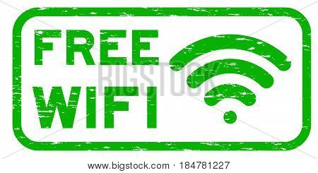 Grunge green free wifi with signal icon square rubber seal stamp