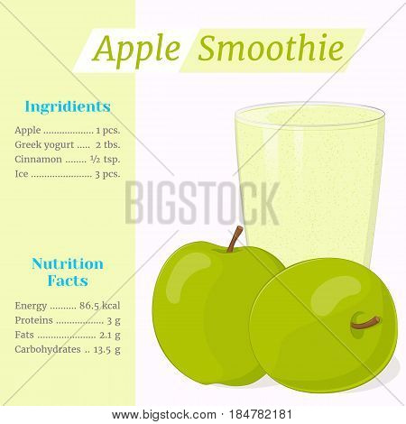 Apple smoothie recipe. Menu element for cafe or restaurant with ingridients and nutrition facts in simple cartoon style. For healthy life. Organic raw shake. Vector illustration.