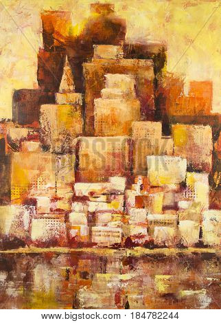 Abstract cityscape painting in orange and yellow colors.