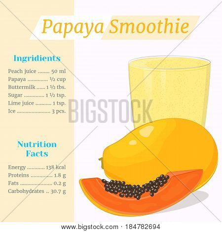 Papaya smoothie recipe. Menu element for cafe or restaurant with ingridients and nutrition facts in simple cartoon style. For healthy life. Organic raw shake. Vector illustration.