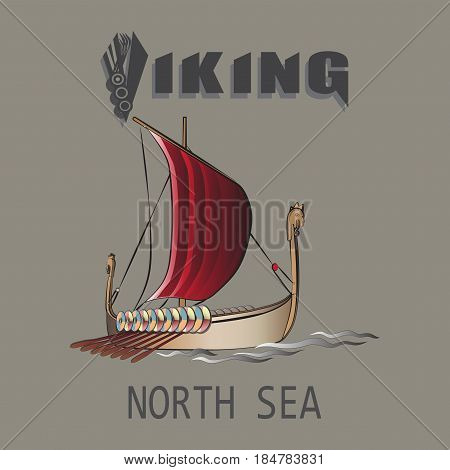 Viking ship. North sea. Emblem. Design for textiles, printing on fabric and paper.