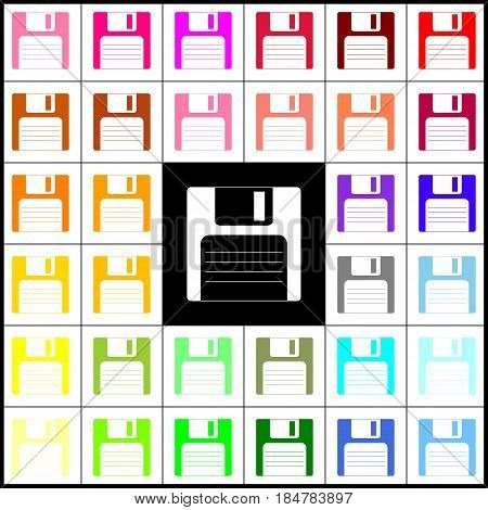 Floppy disk sign. Vector. Felt-pen 33 colorful icons at white and black backgrounds. Colorfull.