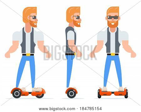 Gyroscooter Geek Hipster Casual Character Icons Set Isolated Cartoon Vector illustration