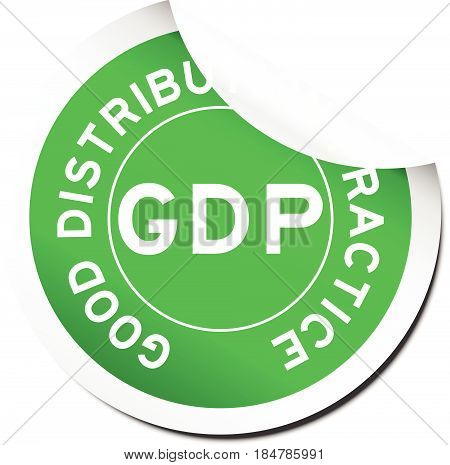 Green GDP (Good distribution practice) sticker on white background