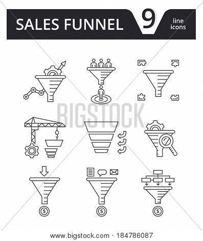 Sales Funnel - vector set of thin line icons. Internet marketing strategy concept.