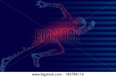 Fast impetuous running sportsman. Man run high speed sport achievement. Silhouette sprinter background. Design runner dark blue vector illustration art