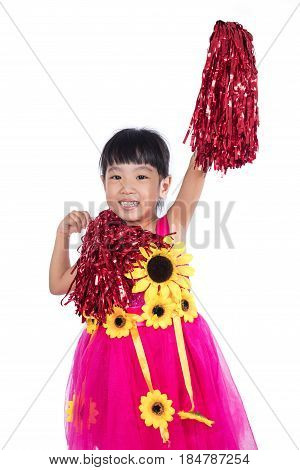 Asian Chinese Cheerleader Girl Holding A Pompom