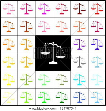 Scales of Justice sign. Vector. Felt-pen 33 colorful icons at white and black backgrounds. Colorfull.
