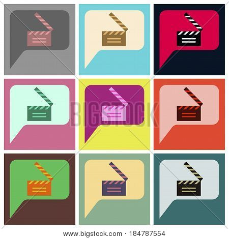 Vector illustration of flat icons set film slapstick