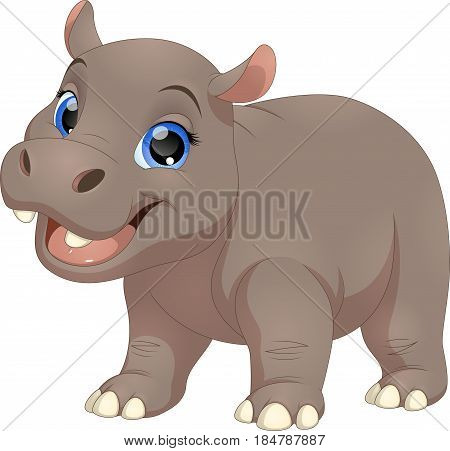 Vector illustration, cute smiling hippo on white background
