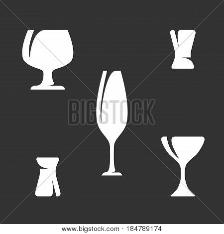 Dinnerware isolated on white background Icons illustrations of goblet and wineglass - stock vector