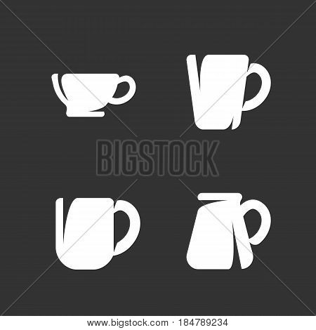 Dinnerware isolated on white background. Icons illustrations of cups and mugs - stock vector