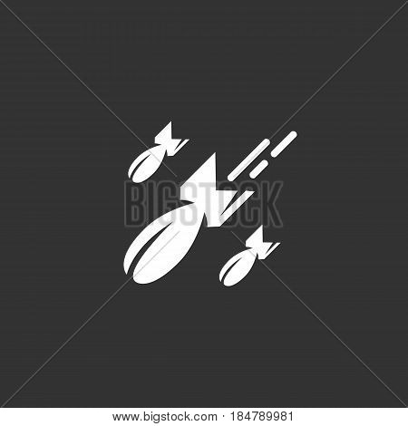 Bomb vector logo isolated on a black background. Icon silhouette design template. Simple symbol concept in flat style. Abstract sign pictogram for web mobile and infographics