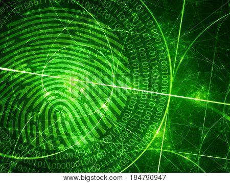 Green glowing fibonacci circles with digital fingerprint computer generated abstract background 3D rendering