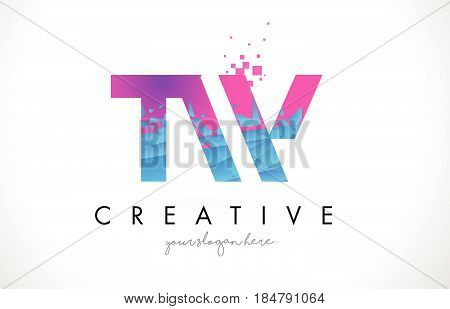 Tw T W Letter Logo With Shattered Broken Blue Pink Texture Design Vector.