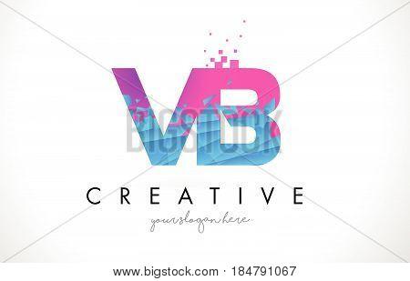 VB V B Letter Logo with Broken Shattered Blue Pink Triangles Texture Design Vector Illustration. poster
