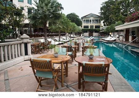 Pool At The Luxury Hotel Peninsula In Bangkok