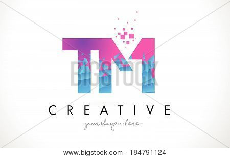 Tm T M Letter Logo With Shattered Broken Blue Pink Texture Design Vector.