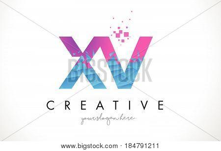 Xv X V Letter Logo With Shattered Broken Blue Pink Texture Design Vector.