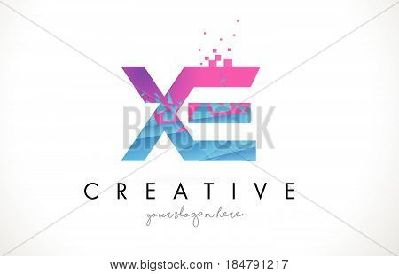 Xe X E Letter Logo With Shattered Broken Blue Pink Texture Design Vector.
