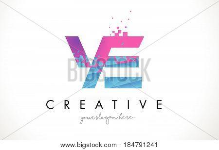 Ye Y E Letter Logo With Shattered Broken Blue Pink Texture Design Vector.