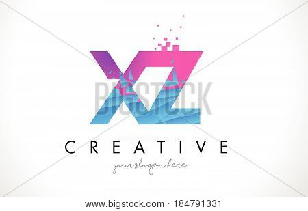 Xz X Z Letter Logo With Shattered Broken Blue Pink Texture Design Vector.